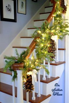 Christmas Stairway Decor-big pine cones and ribbon luv the big pine cones would add red ribbon