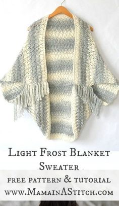easy and beautiful, free crocheted blanket sweater cacoon
