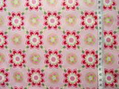 wunderschön gemusterter Baumwollstoff mit rot/rosa/liemefarbenen Blumen auf rosa Grund - hochwertige Qualität .... (Composé-Artikel aus gleicher Serie