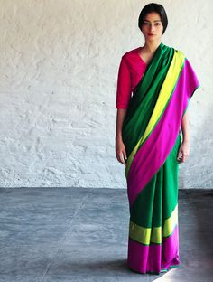 Green Fuschia Sultanah Cotton Silk #Saree By Raw Mango. Available Online At Jaypore.com.