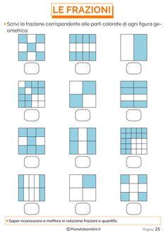 Spiegare le Frazioni ai Bambini con Esercizi Semplici   PianetaBambini.it Primary Maths, Primary School, Math Crafts, Math Classroom, Fractions, Teaching Math, Mathematics, Homeschool, Floor Plans