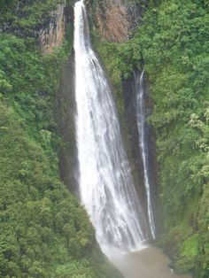 Beautiful waterfall on Kauai from our helicopter tour 6/2011 by Connie Eggleston