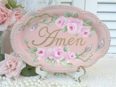 daSommers ORIGINAL AMEN TRAY hp roses chic shabby vintage cottage hand painted  #Unbranded #SHABBYROMANCE