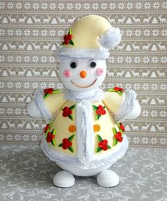 Quilling snowman 3D Quilled Paper art Holiday Winter Christmas
