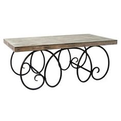 Antique Wood and Metal Coffee Table