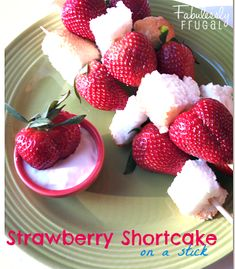 These Strawberry Shortcakes on a Stick would be a hit at a party or brunch.  Perfect for a dessert or appetizer that can be made in advance just what every hostess dreams of.