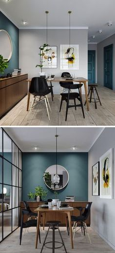 In this small apartment, the dining area has a deep teal blue accent wall that ties in with the front door and storage closet, while the wood furniture adds a natural touch and the black chairs match the black framed glass wall of the bedroom.