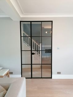 Custom made doors manufactured in any sizes and with different designs to be suitable for any interiors. Have a look to our webpage for inspiration. Aluminium Glass Door, Crittal Doors, Door Dividers, Internal Sliding Doors, Cosy House, House Extension Design, Black Interior Doors, Glass French Doors, External Doors