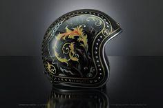 Versace custom helmet -ℛℰ℘i ℕnℰD by Averson Automotive Group LLC Motorcycle Helmet Design, Cafe Racer Helmet, Motorcycle Paint Jobs, Women Motorcycle, Pinstriping, Bobber Helmets, Chopper, Airbrush, Cafe Racers