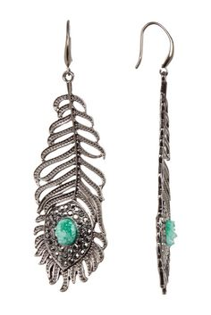 Crystal & Drusy Detail Feather Earrings