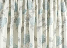 Hydrangea Duck Egg Cotton Pencil Pleat Ready Made Curtains | Laura Ashley