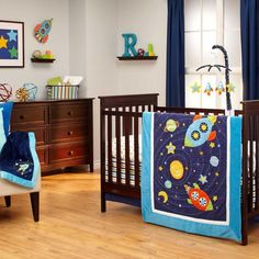 Colorful Space Ship and Stars Baby Boys Nursery 4 Piece Infant Crib Bedding Set #NoJo