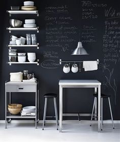 Kitchen, blackboard wall