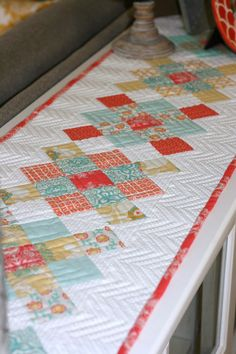 A Little Bit Biased: herringbone quilting pattern - straight stitches following edges of granny squares