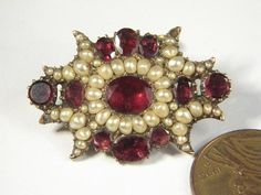 -ANTIQUE-GEORGIAN-GARNET-PEARL-PIN--c1830