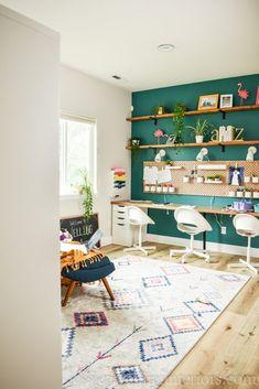 Ikea Home Office, Home Office Chairs, Home Office Design, Home Office Furniture, Ikea Office Hack, Furniture Ideas, Ikea Kallax Bookshelf, Bookshelf Desk, Bookshelf Room Divider