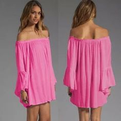 008  💚off shoulder boho mini oversized💚 Gorgeous oversized long sleeve chiffon off the shoulder mini. Dresses