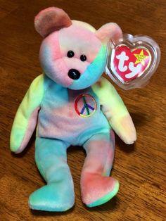 Ty Beanie Baby - Peace The Tie Dye Bear - Retired 1996 (One of two Beanies that I own. Peace Beanie Baby, Original Beanie Babies, Ty Beanie, Beanies, Grandchildren, Dinosaur Stuffed Animal, Tie Dye, Bear, Toys
