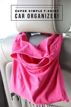 Easy T-Shirt Car Organizer DIY  ||  super simple thrifted craft project.