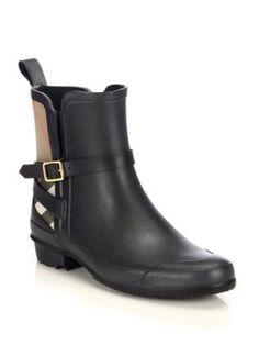 e5d0ed3e8e2a Burberry - Richardson Leather  amp  Check Canvas Ankle Boots - Saks.com  Short Rain