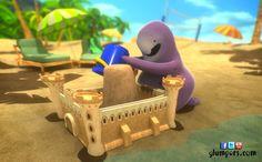 Dudd is a great builder of sand castles, it has almost finished! Photos of the Glumpers summer vacation at the beach. Cartoon funny comedy animation for children --- Dudd es una gran constructor de castillos de arena, ya casi lo tiene acabado! Fotos de los Glumpers de vacaciones de verano en la playa. dibujos animados divertidos, comedia de animación para niños