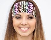 Bright Aztec Drawings | Fitness headband | Yoga headband | Workout headband | Running headband | Wide Headband | Buy Any 5, Get 1 FREE!