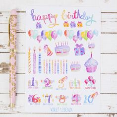 Happy Birthday Count Down Watercolor GLOSS Sticker Sheet | For Kikki K, FiloFax or other Journals and  Planners