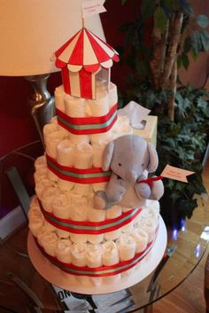 Themed diaper cake at a Circus party!  See more party ideas at CatchMyParty.com!  #partyideas #circus