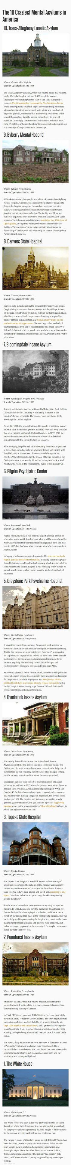 The craziest mental asylums in America
