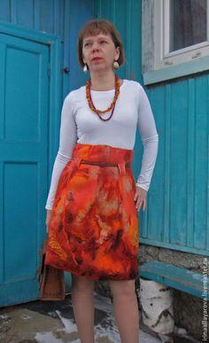 """Юбки ручной работы. Валяная юбка """"Рыжий зверь..."""". Ирина Аллаярова. Ярмарка Мастеров. Валяная юбка, шерстяная юбка"""