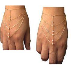 Celebridade Multi Tassel Cadeia Bangle Slave Cadeia Mão Harness Ouro Anel de Dedo Frete Grátis Presente ns89