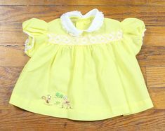 98187555e22 Items similar to Vintage 70s Baby Girl Blouse Yellow White Embroidered Mini  Dress Top Peter Pan Collar DEER Woodland Creature Embroidered Skirt 0 to 12  Mos ...