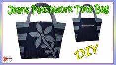 Diy Tote Bag, Reusable Tote Bags, Design Youtube, Diy Bags Tutorial, Patchwork Jeans, Denim Bag, Bag Making, Purses And Bags, Pouch