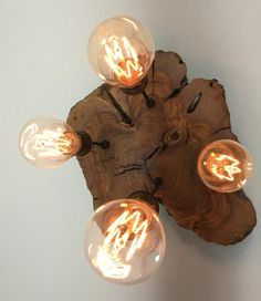 Modern Live-Edge Olive Wood Light Fixture with Lights - Rustic Industrial Chandelier* Industrial Chandelier, Rustic Industrial, Funky Lamps, Long Lights, Custom Woodworking, Woodworking Ideas, Wood Slab, Holiday Sales, Hanging Lights