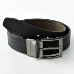 Men's Columbia Logo Buckle Reversible Leather Belt, Size: 42, Brown
