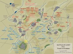 Map of The Battle of Ligny, preceding Waterloo by two days.  The Prussians were forced to retreat. Field Marshal Blucher, the commander of the Prussian army, retreated towards Wavre, so as to be headed towards Waterloo, thus helping Wellington.  As it turned out, it was a decisive move, as he was able to not only occupy 33,000 pursuing French, but also fall upon the French right flank at Waterloo.