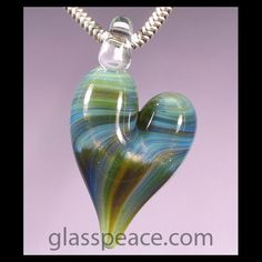 Sparkling Blue and Green Heart Pendant - Boro Lampwork Glass Pendant by Glass Peace $10.95
