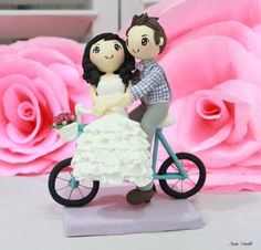 Wedding cake topper bicycle wedding couple with check shirt groom and strapless dress bride clay doll clay figurine clay miniature