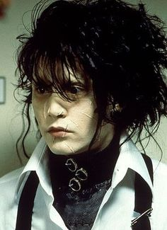 "Johnny Depp (Edward) in ""Edward Scissorhands"" (1990) >> If Depp could stop being attractive even as an emotionally and physically scarred man, that'd be great"
