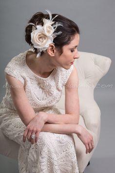 Ivory And Champagne Rose Birdcage Fascinator, Wedding Headpiece, Bridal Flower - Mae by brendasbridalveils on Etsy https://www.etsy.com/listing/183287747/ivory-and-champagne-rose-birdcage