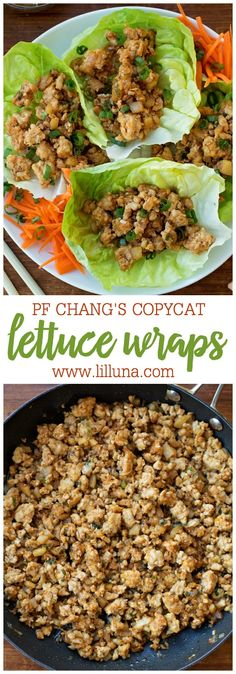 This PF Chang's Lettuce Wraps recipe is a copycat of a restaurant favorite. A mixture of ground chicken, minced mushrooms, and onions, seasoned and cooked in oriental sauces and wrapped in fresh lettuce. Best of all, they take just 20 minutes to make! Pf Changs Chicken Lettuce Wraps Recipe, Lettuce Wrap Recipes, Recipe For Lettuce Wraps, Best Lettuce For Wraps, Lettuce Wraps Ground Beef, Healthy Lettuce Wraps, Asian Chicken Lettuce Wraps, Clean Eating, Healthy Eating