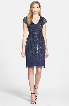 Adrianna Papell Embellished Mesh Dress @nordstrom
