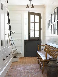 Love the Dutch door!This mudroom with it's brick flooring reminds me of old English stables with their brick flooring and dutch doors. It's ultra cool and a subtle transition from the barn into the heart of the home. House Design, House, Interior, Ship Lap Walls, Character Home, New Homes, Dutch Door, House Interior, Brick Flooring