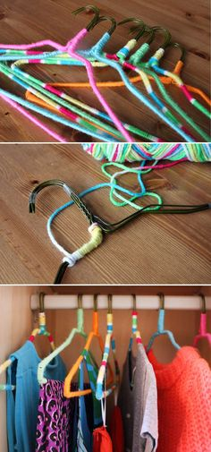 DIY Nonslip hangers using neon yarn - now I know what to do with all the wire hangers I don't want to throw out.
