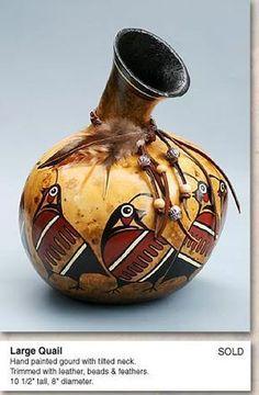 "*Gourd Art - ""Large Quail"" by Martha Boers"