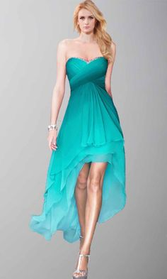 Pretty Sweetheart Ombre High Low Prom Party Dresses KSP412