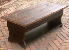 Rustic Country BENCH coffee table - distressed wood primitive antique entry old