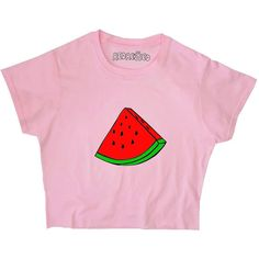 Watermelon Crop Top Graphic Summer Tee Unisex Yellow Pink Blue White... (345 MXN) ❤ liked on Polyvore featuring tops, t-shirts, shirts, crop tops, t shirt, long length t shirts, long t shirts, pink shirts and cotton t shirts