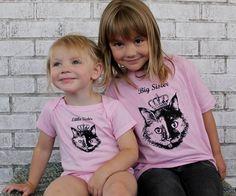 Sister Shirt Set Princess Kitty Big Sister by CausticThreads, $34.00