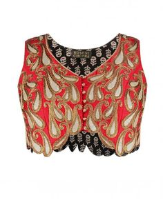 Candy Red Sleeveless Top with Paisley Motifs